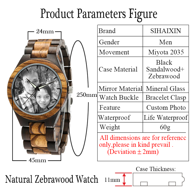 zebra wooden band watch male clock 5