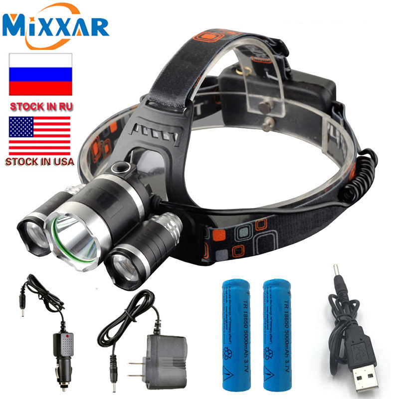 13000Lm T6 + 2 * R5 T6 LED Headlight Headlamp Head Light Lampu + baterai 2x18650 + EU / US Charger mobil Lampu pancing dropshipping