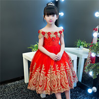 Shoulderless Flower Girl Dresses for Wedding Gold Appliques Holy Communion Dress Sequined Ball Gown Kids Party Gowns Birthday K