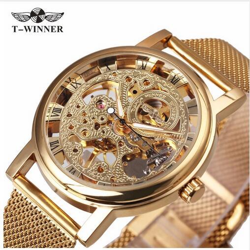 2017WINNER NEW Ultra Thin Luxury Golden Men Mechanical Watch Mesh Strap Dial Middle Age Roman Design Style Best Gift