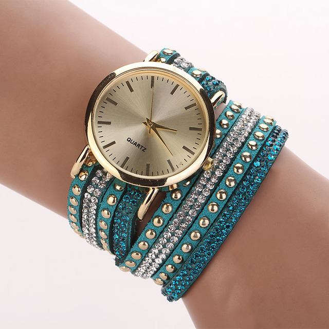 Aimecor Brand Top Luxury Ladies Watches Women PU Leather Strap Crystal Rivet Bra