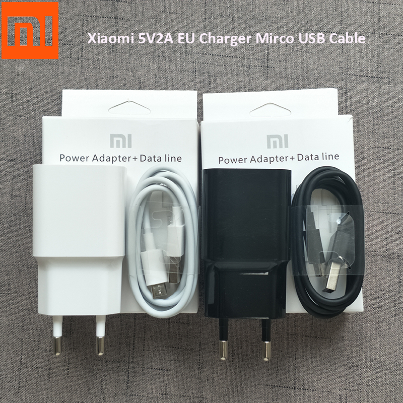 Original XIAOMI USB Charger 5V/2A EU Adapter Micro USB Data Cable for Redmi Note 3 Pro 4 4A 4X 5 Plus 5A 6 6A Mi 4 3 3s A2 lite-in Mobile Phone Chargers from Cellphones & Telecommunications