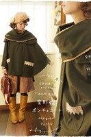 Платье принцессы милое пальто в стиле Лолита, напоминающие по форме Крылья Стиль шаль летучая мышь шерстяное пальто с отложным воротником Ш