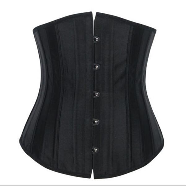 Envío gratis nueva ladies negro satin lace up 24 deshuesado acero lleno del corsé de underbust XXXS-XL