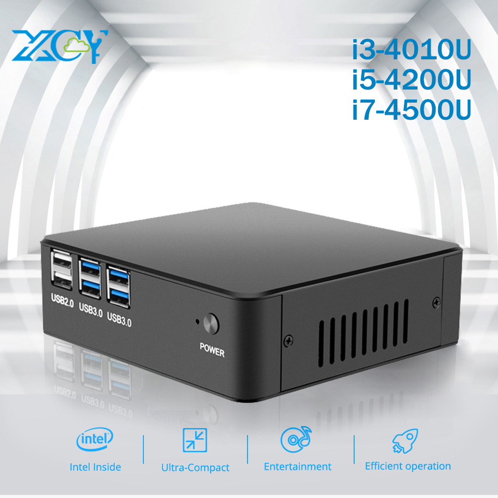 XCY Mini PC Intel Core i3 4010U i5 4200U i7 4500U Barebone Motherbroad RAM SSD HTPC HD Wifi Aluminum Case Mini Computer оголовок скважинный джилекс осп 90 110 32