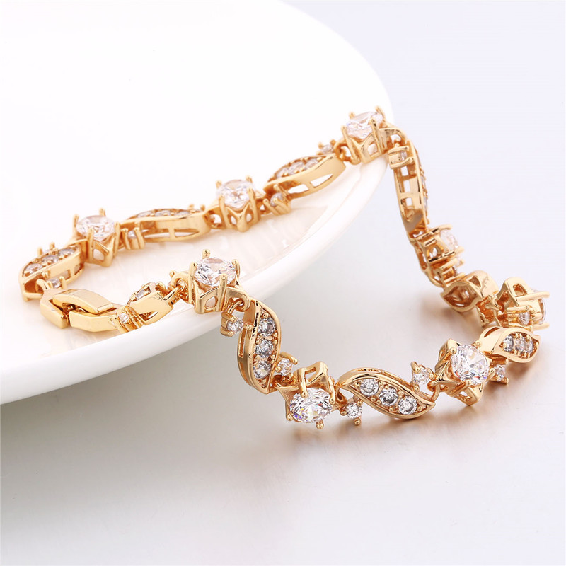 BUDONG 18cm Fashion Hand Bracelets for Women Silver/Gold Color Bracelet Pink Crystal Cublic Zirconia Jewelry Bangles XUL104 12