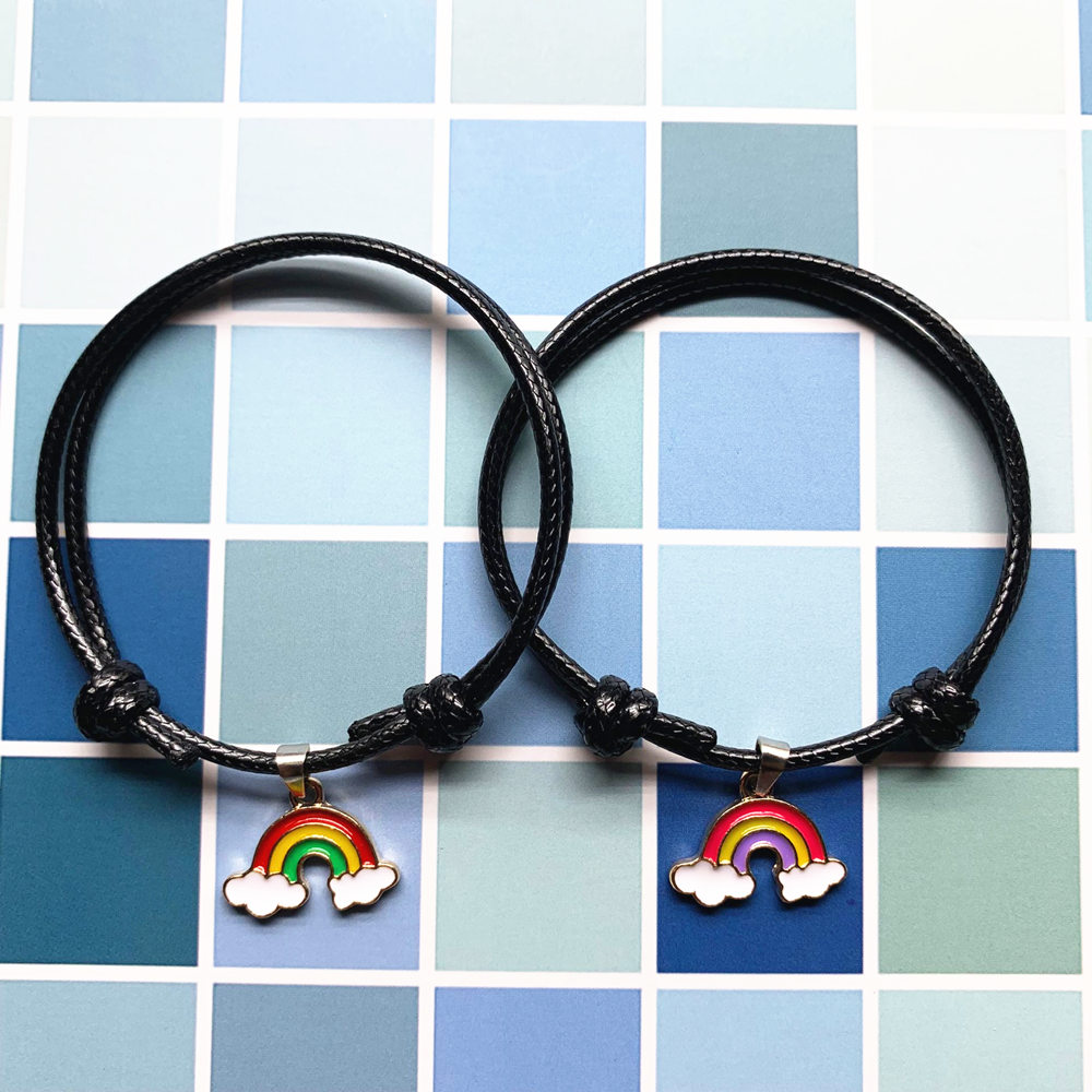2 PCS New fashion bracelets for women and men personality rainbow couple bracelet handmade paired rope chain gifts for lovers