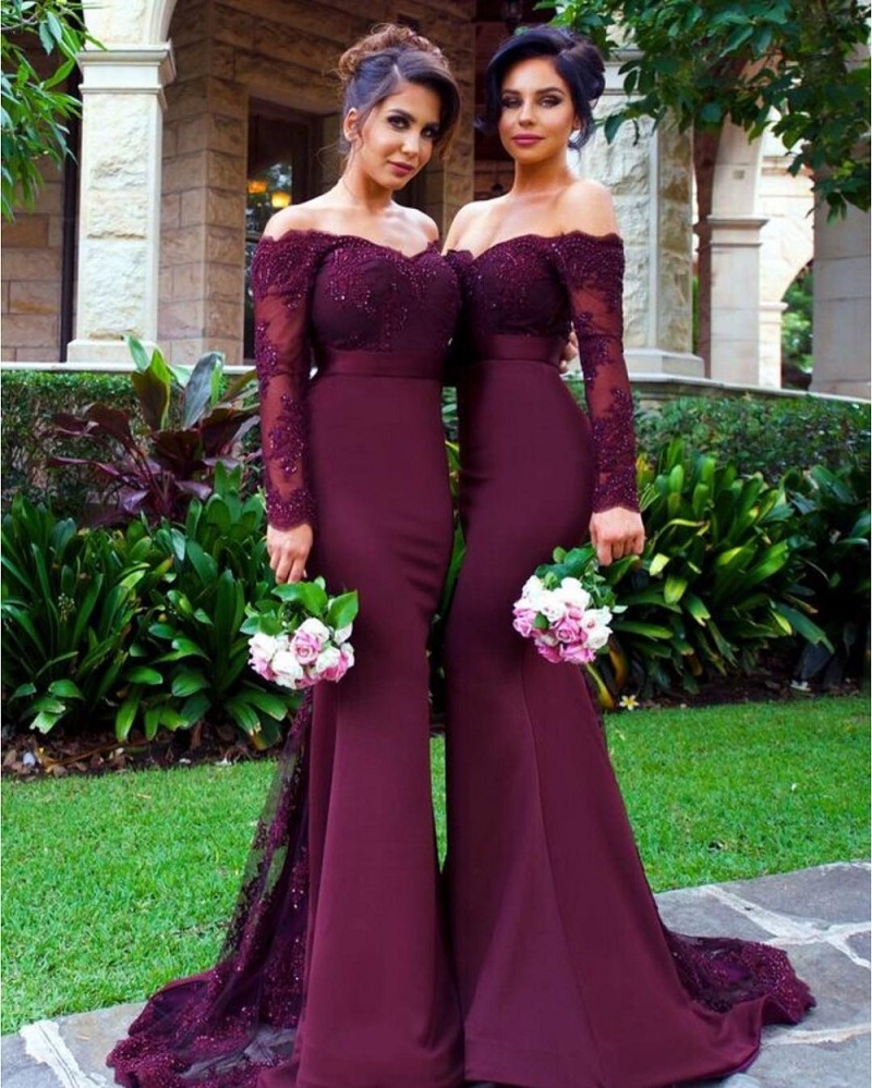 M425 Dark Purple Long Mermaid   Bridesmaid     Dress   Long Sleeves Boat Neck Satin Appliques Beading Button Back Woman   Dresses
