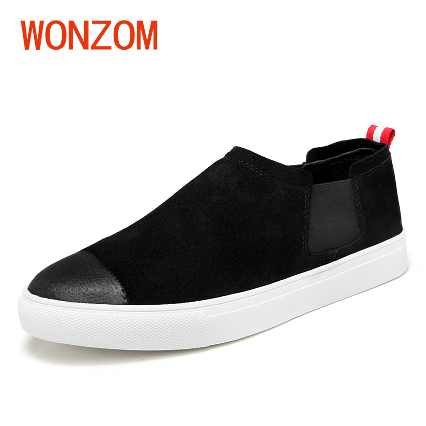 WONZOM New 2018 Men Casual Suede Shoes Brand Leather Spring/Autumn Breathable Flat Shoes For Man Drop Shipping Zapatillas Hombre casual dancing sneakers hip hop shoes high top casual shoes men patent leather flat shoes zapatillas deportivas hombre 61