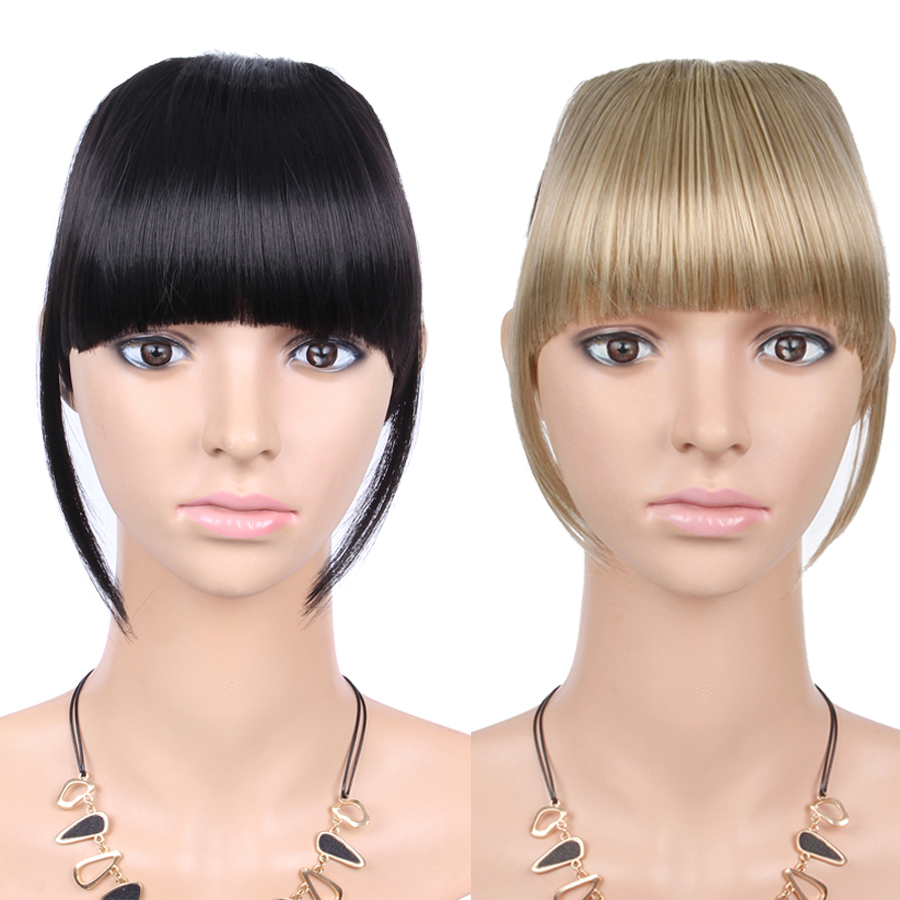 AliLeader Black Brown Blonde Fake Fringe Clip In Bangs Hair Extensions With High Temperature Synthetic Fiber(China)