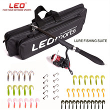 LEO Lure Rod ABS Deep Sea Saltwater Fishing Rod Portable Foldable Travel Spinning Cheap Telescopic Rods and Metal Reels Set