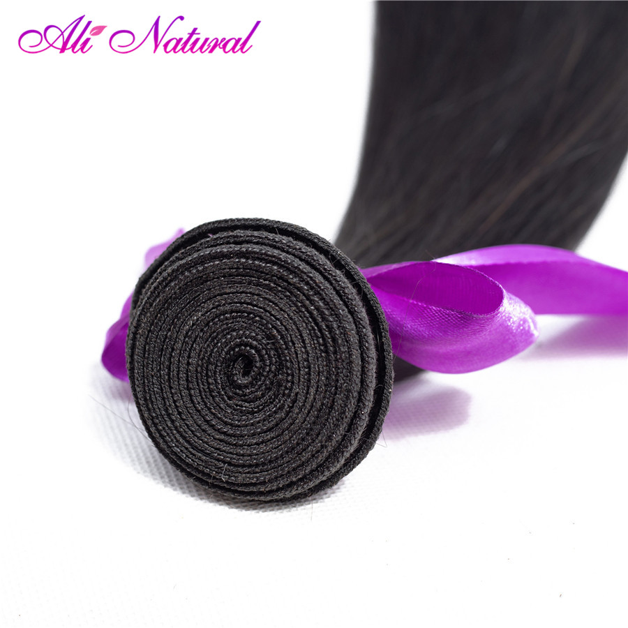 Ali Natural Malaysian Straight Hair 13x4 Lace Frontal Closure Free Part with Bundles Non-Remy Human Hair