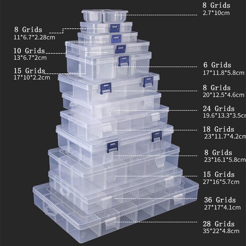 Ajustável 3-36 grades compartimento caixa de armazenamento de plástico jóias brinco talão parafuso titular caso display organizador recipiente