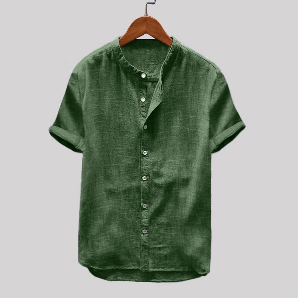 2019 Summer Men's Plus Size Baggy Cotton Linen Solid Short Sleeve Retro Tops Blouse Hawaiian Shirt Camisa Masculina Streetwear