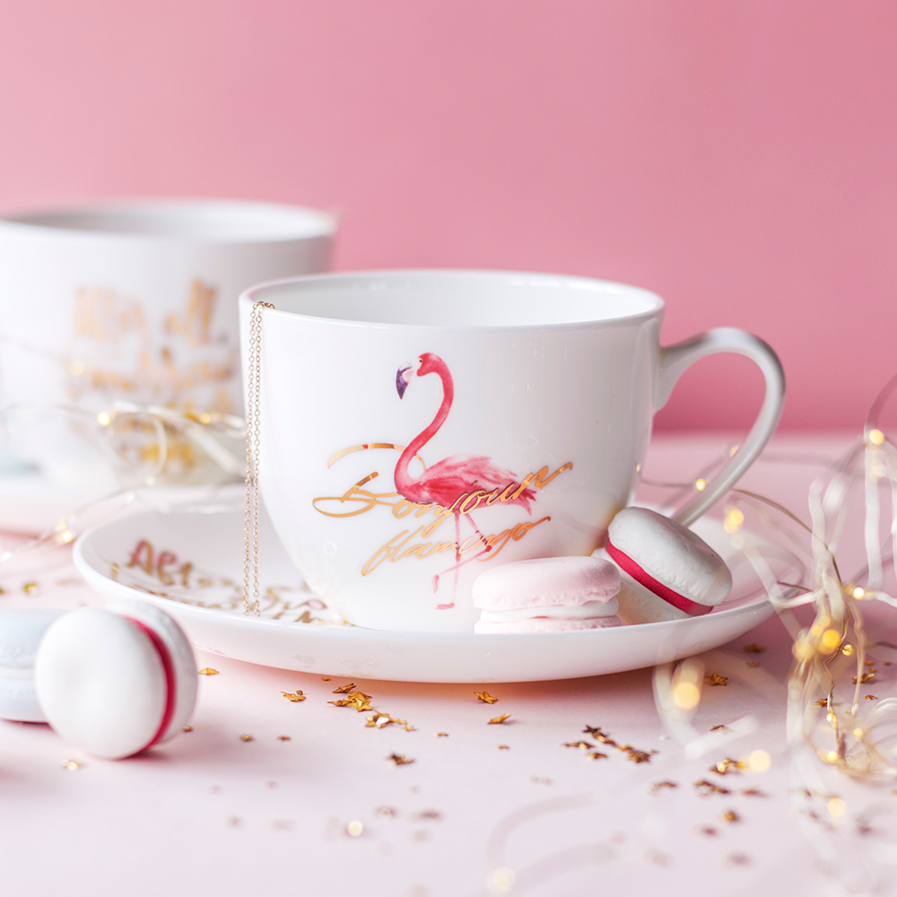 INS popular Flamingo bone china coffee cup dish afternoon tea cup set pink girl heart coffee gift for boyfriend on anniversary