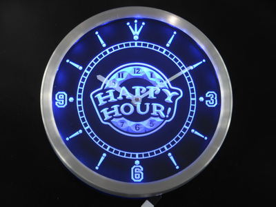 Nc0288 Happy Hour Bar Beer Pub Neon Light Signs LED Wall Clock