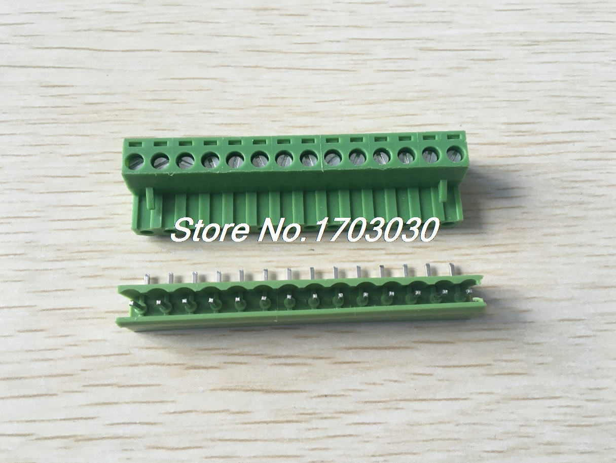 5 pcs 5.08mm Angle 14 pin Screw Terminal Block Connector Pluggable Type Green 5 pcs 400v 20a 7 position screw barrier terminal block bar connector replacement