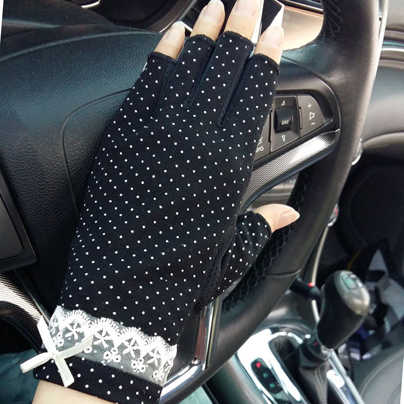Female Summer Sports Fitness Cycling Sunscreen Touch Screen Gloves Women Thin Cotton Fashion Half Finger Driving Gloves B83