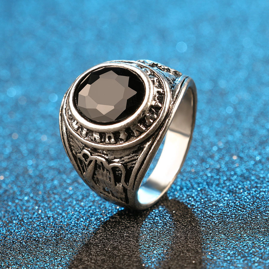 Vintage Rings Big Black Precious Stones Zinc Alloy  Lover Ring For Men /Women Texture Engraving Jewelry Wholesale jz264 titanium ring