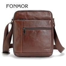 Fonmor Vintage Echtem Leder Umhängetasche für Männer Business Messenger Bags schwarz und braun Freizeit Tasche Mann
