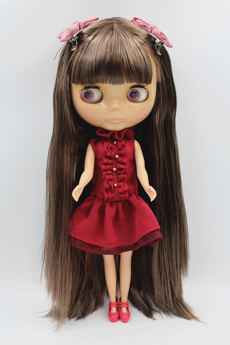 Blygirl Doll brown bangs hair Blyth Doll body Fashion Can refit makeup Fashion doll Wheat muscle