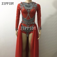 Bright Rhinestones Red Backless Bodysuit Big Tail Stage Show Outfit Set Female Singer Nightclub Prom Celebrate Luxurious Costume