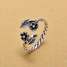 925 пробы, серебряные Открытые Кольца для женщин, оригинальные, ручной работы, предотвращают аллергию, Стерлинговое Серебро, цветок, кольца, ювелирные изделия