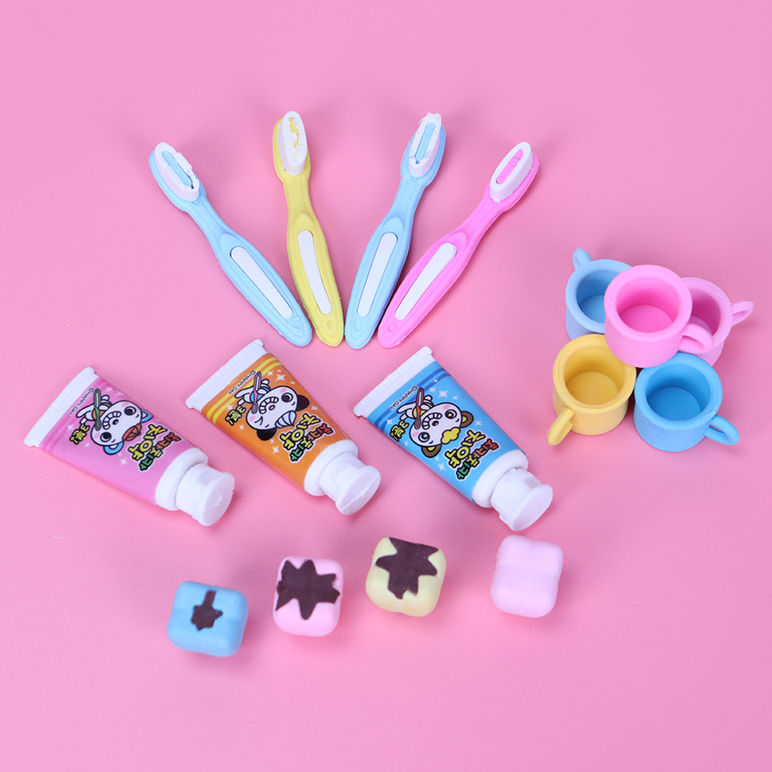 4PCS/lot Imitate Cleaning Supplies Eraser Teeth Toothpaste Eraser Children Favorite Learning Stationery