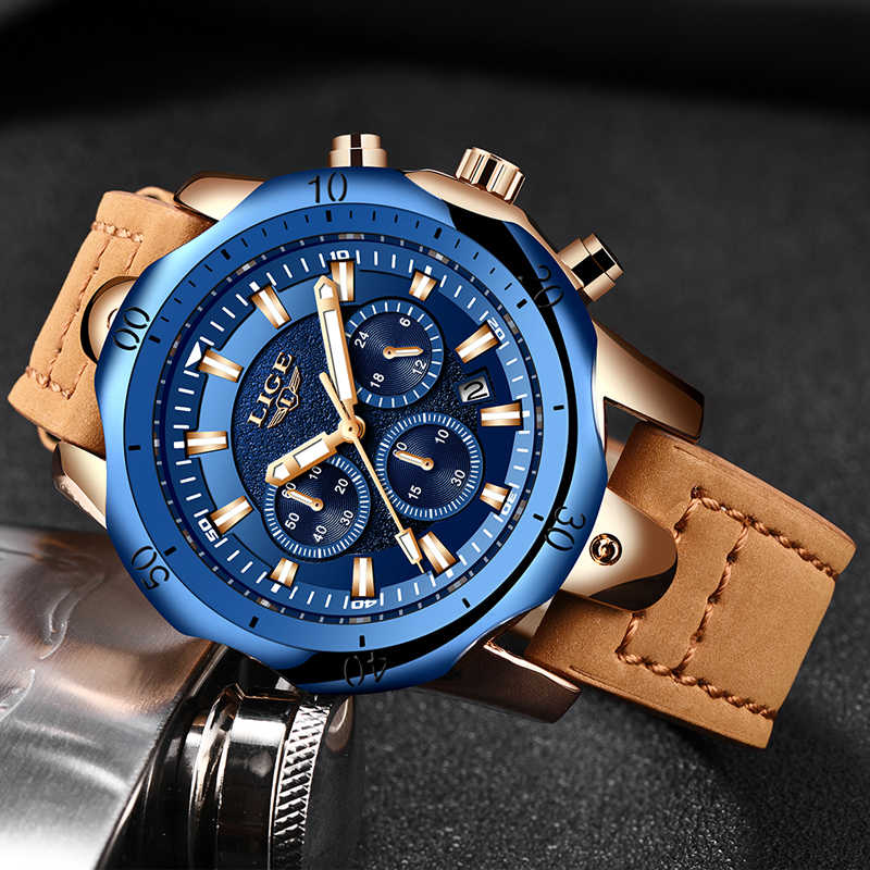 2019 LIGE Mens Watches Brand Luxury Blue Quartz Watch Men Casual Leather Military Waterproof Sport Wrist Watch Relogio Masculino