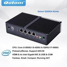 QOTOM Pfsense Mini PC with Core i3 i5 i7 processor and 4 Gigabit NICs support AES