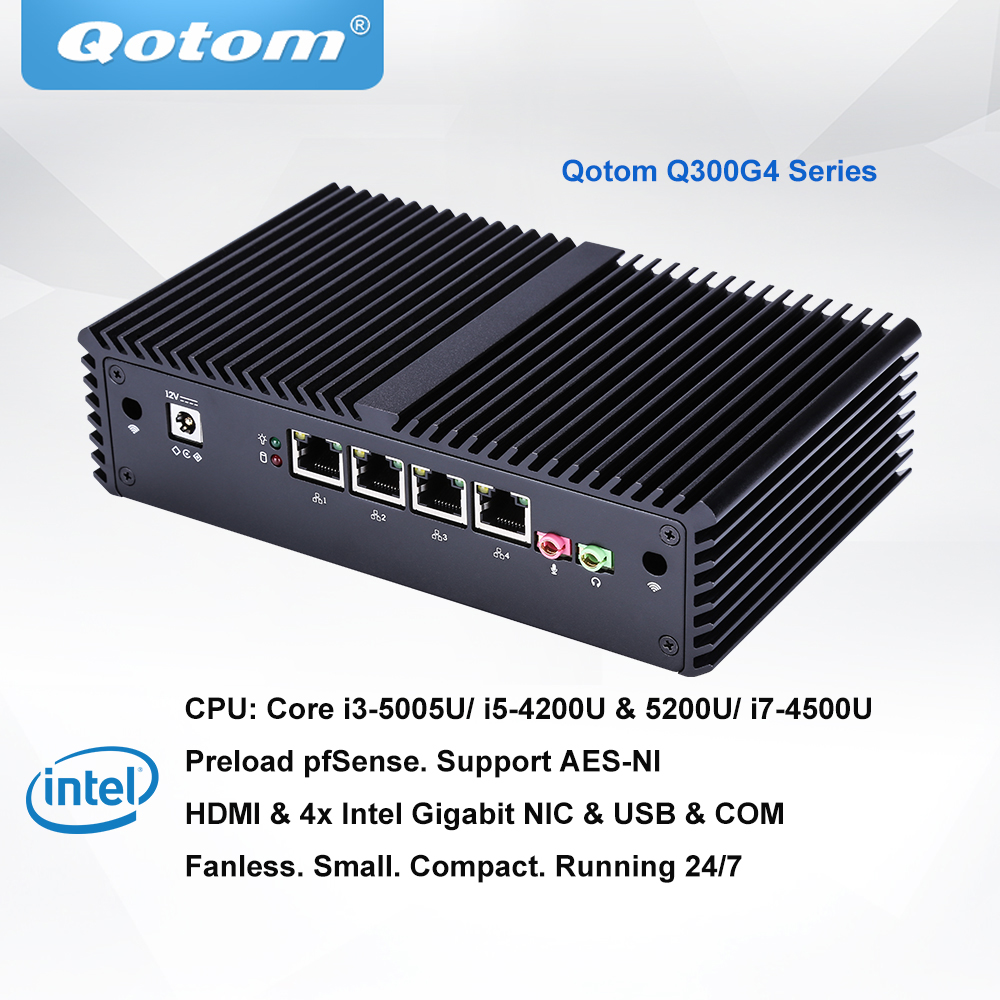 Qotom Pfsense мини пк Core i3 i5 i7 процессор 4 Gigabit NIC AES-NI Fanless мини компьютер