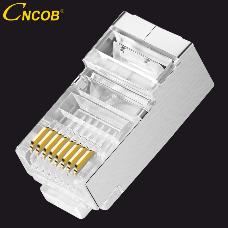 cncob cat5e Ethernet connector shielded copper shell rj45 8P8C cable plug metal shell FTP network crystal head 30pcs / 100pcs
