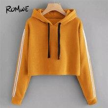 f0d2cb88241fc ROMWE Orange cordon varsité manches rayées sweat à capuche femmes vêtements  automne décontracté à capuche manches longues Sweats.