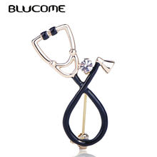 Blucome Black Stethoscope Shape Brooch Shiny Crystal Enamel Pins Accessories For Doctor Nurse Gifts Clothes Lapel Pin Jewelry(China)