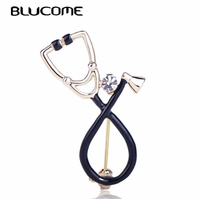 Брошь в форме стетоскопа Blucome, черная эмалированная брошь, украшенная кристаллами, с застежкой-булавкой, для врача, для медсестры, на подарок, на лацкан