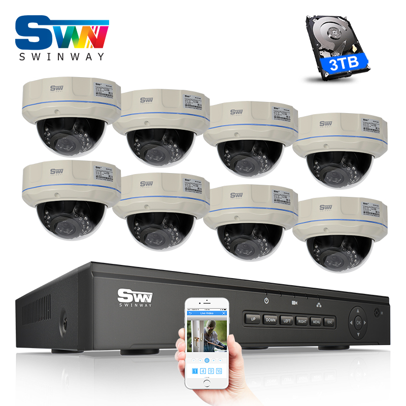 Plug And Play 8CH NVR Kit POE CCTV System 3TB HDD P2P 1080P HD Dome IR Security Surveillance IP Camera POE