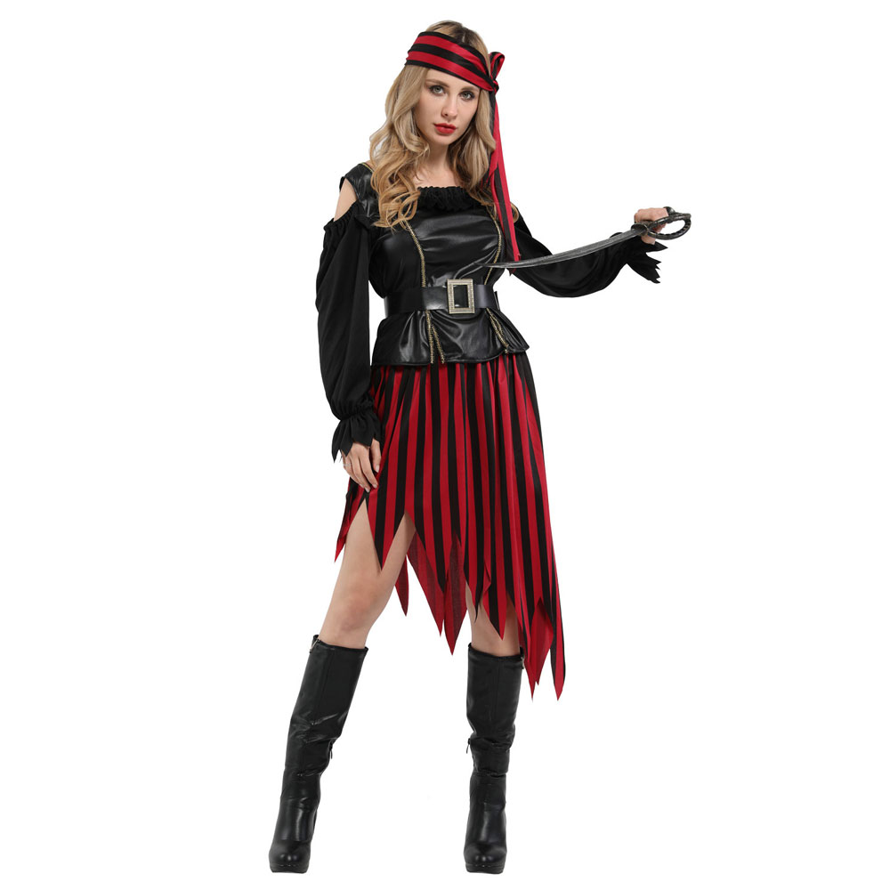 LADIES BLACK /& RED HIGH SEAS CARIBBEAN PIRATE FANCY DRESS COSTUME