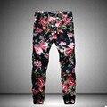 Nuevo 2017 de Otoño E Invierno Pantalones de Lino Pantalones Casuales Hombres Pantalones de Impresión Caliente-venta Moda Hombre ropa Flor