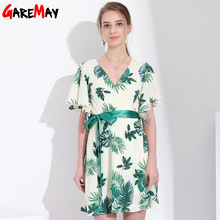 V Neck Short Sleeve Loose Floral Print Maxi Chiffon Dress