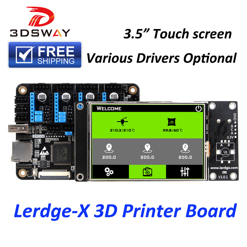 Free Shipping 3DSWAY 3D Printer Board Lerdge X Motherboard ARM 32 bit Controller with 3 5