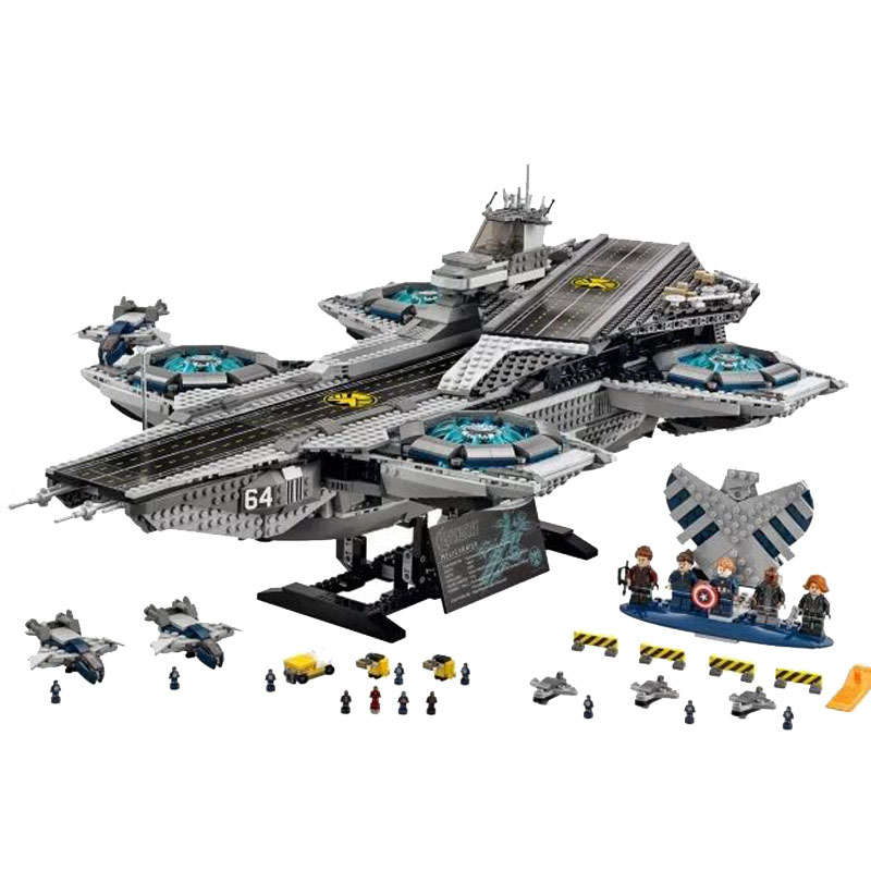 3057Pcs Standard Brick Size Super Heroes The SHIELD Helicarrier Model Building Kits Blocks Bricks Toys 76042 Gift купить