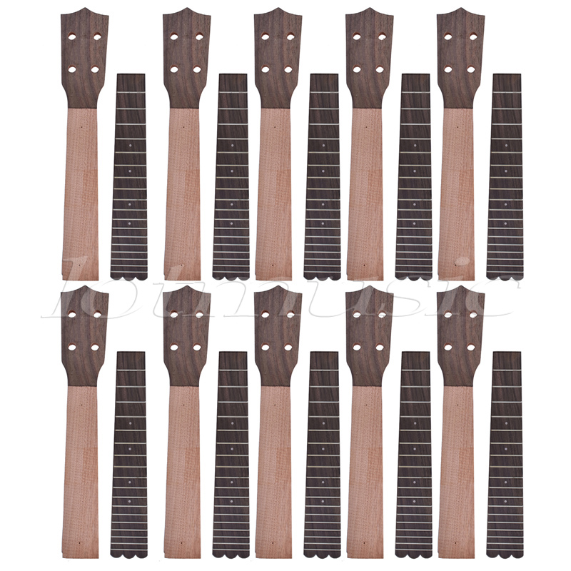 Ukulele Neck and Fretboard for 23 Inch Concert Ukelele Uke Hawaii Guitar Okoume and Rosewood 10 Set neck and fretboard fingerboard for 26 inch tenor ukulele hawaii guitar parts maple and rosewood 18 fret