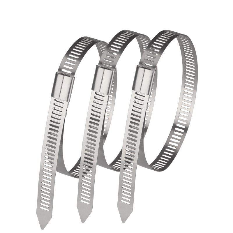 shthde 7mm 100pcs stainless steel metal cable tie zip wrap exhaust heat straps induction pipe with self-locking fastener