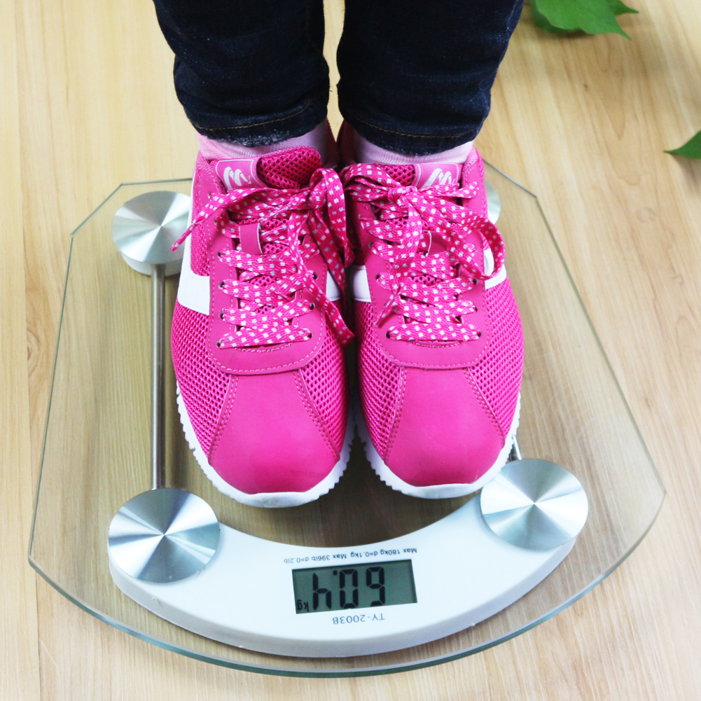 180kg Clear Toughened glass Electronic Digital Scale Glass Electronic body Weight bathroom floor scales Balance weighing scale 5kg 5000g 1g digital scale kitchen food diet postal scale electronic weight scales balance weighting tool led electronic wh b05