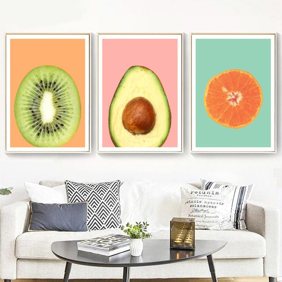 KIWI STRAWBERRY ORANGE FRUITS CANVAS PICTURE PRINT WALL ART  VARIETY OF SIZES
