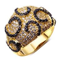 Dome Shape Women Cubic Zirconia Stone Rings Elegant Black White Crystal Rings Allergy Free Cadmium Free
