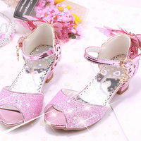 Cute girls princess sandals kids butterfly sandals wedding shoes high heels genuine leather sandals girls brand shoes