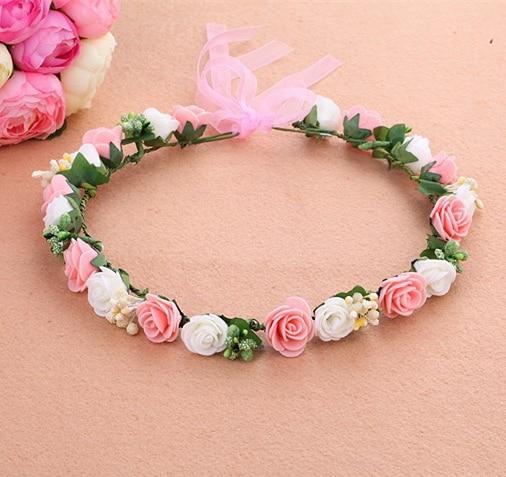 Mori Girl floral Series wedding bridal girls head rose tiara Garland wreath flower crown for women