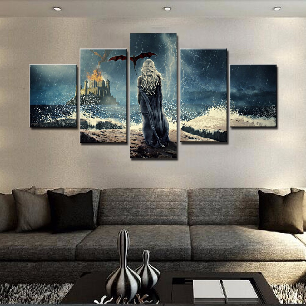 Modular HD Printed Canvas Pictures Home Decor Frame Poster 5 Pieces Game Of Thrones Paintings For Living Room Wall Art PENGDA 1