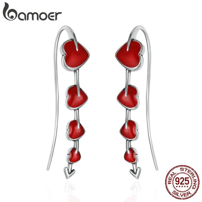 BAMOER Authentic 925 Sterling Silver Fall in Love Blooming Heart Red Enamel Drop Earrings for Women Valentine Day Gift SCE257 pair of chic rhinestone hollow out cube shape valentine s day gift earrings for women